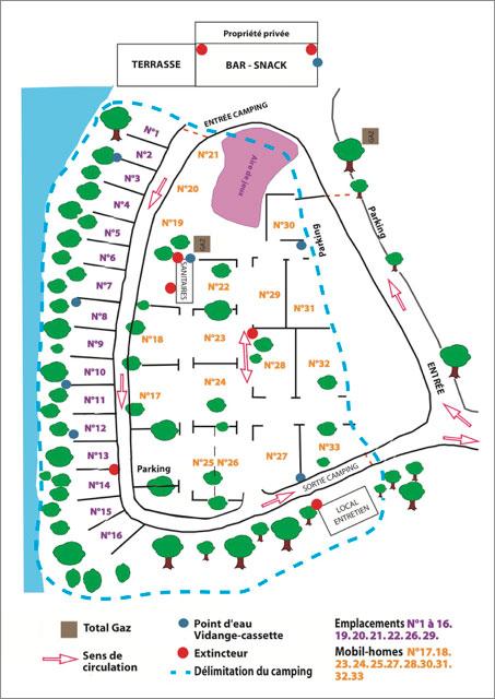 Plan du camping Le Clupeau